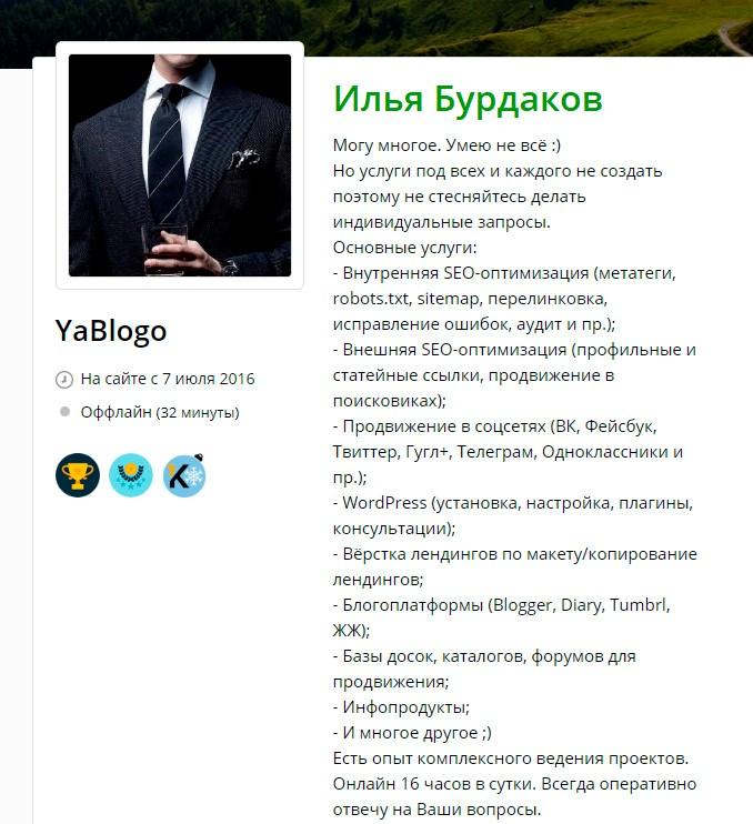 Скриншот профиля